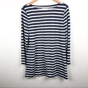 TORY BURCH 100% Linen Navy White Stripe 3/4 Sleeve